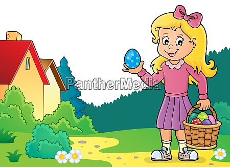 girl with easter eggs theme image