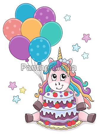 unicorn with cake and balloons theme