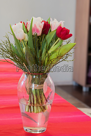 a bouquet of tulips in a