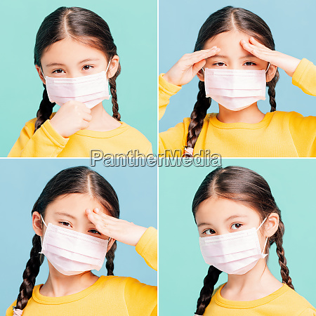 collection of sick girl child in