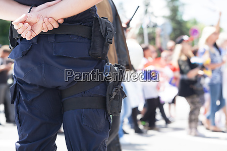 police officer on duty during demonstration