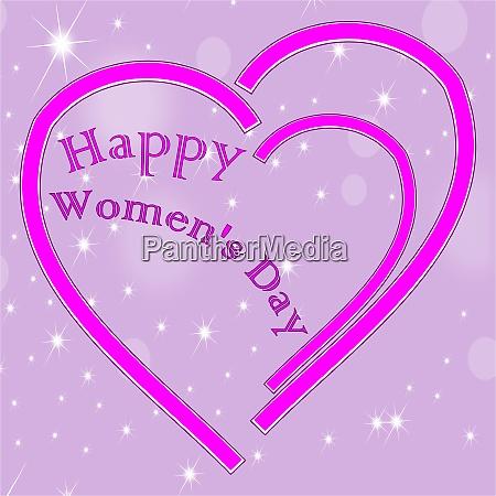 happy womens day heart on decorative
