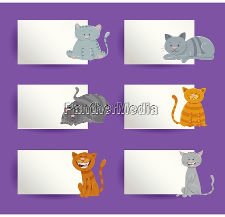 cats with cards cartoon design elements