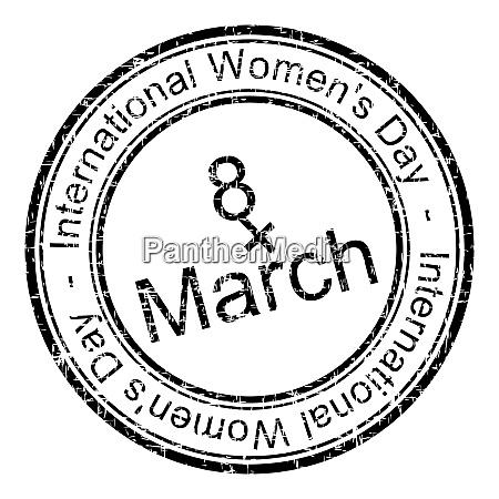 black international womens day rubber stamp