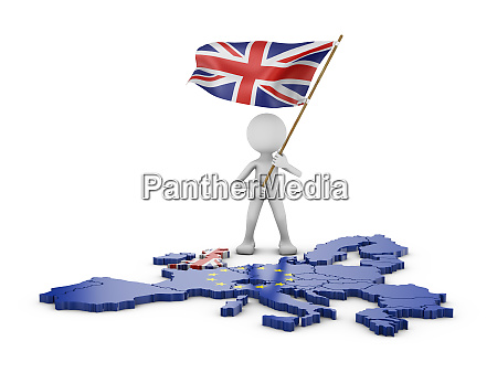 man with flag of great britain