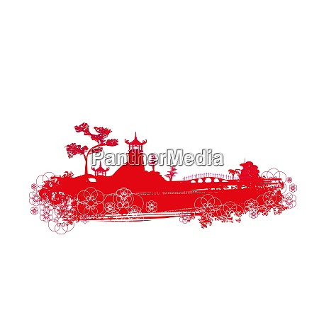 abstract chinese landscape red decorative illustration