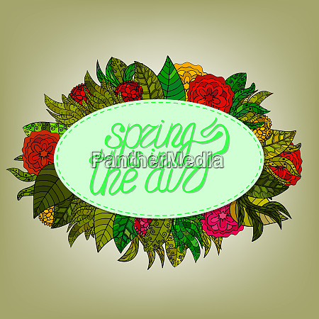 spring lettering greeting card with cartoon