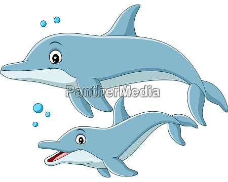 cartoon mother dolphin swims with baby
