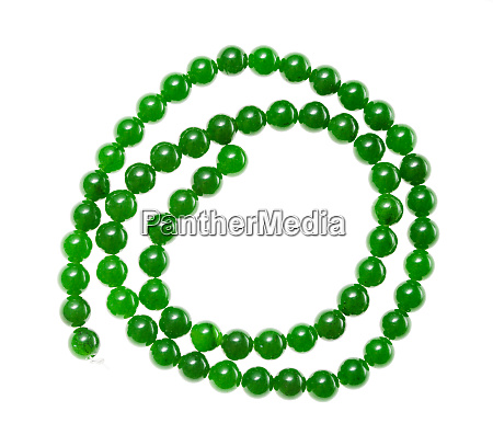 string of beads from green nephrite