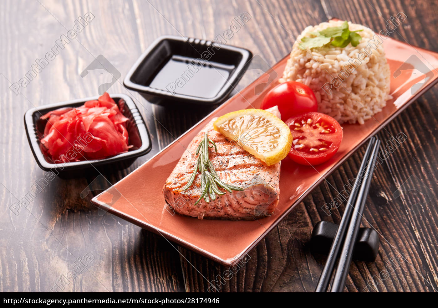 grilled, salmon, with, rice - 28174946