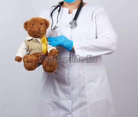 pediatrician, in, white, coat, , blue, latex - 28175484