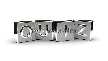 quiz text on metal block