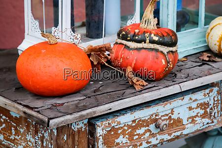 pumpkins lie on an old chest