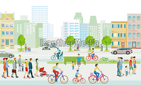 city with pedestrians and families on