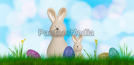 colorful easter background with two bunnies
