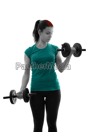 sporty young woman doing bicep curls
