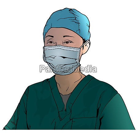 healthcare worker wearing medical face mask