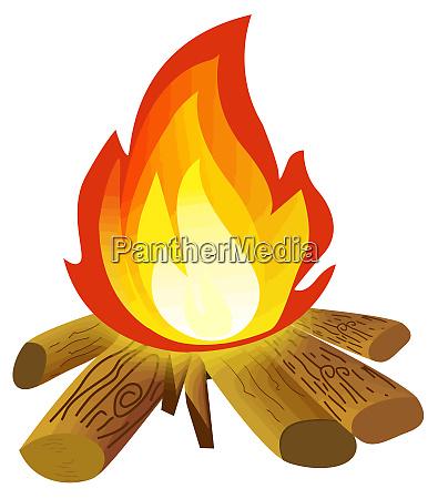 campfire bonfire flame hot wood illustration