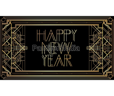 golden decorative happy new year sign