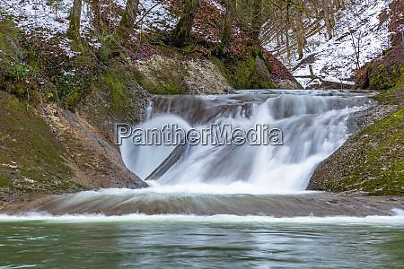 waterfall in eistobel gorge bavaria germany