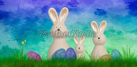 colorful easter background with three bunnies