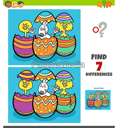 differences game with cartoon easter characters