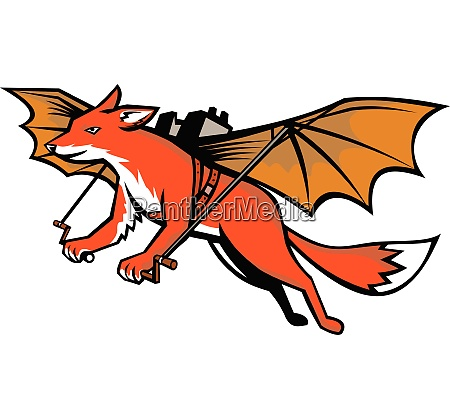 flying fox with mechanical wings mascot
