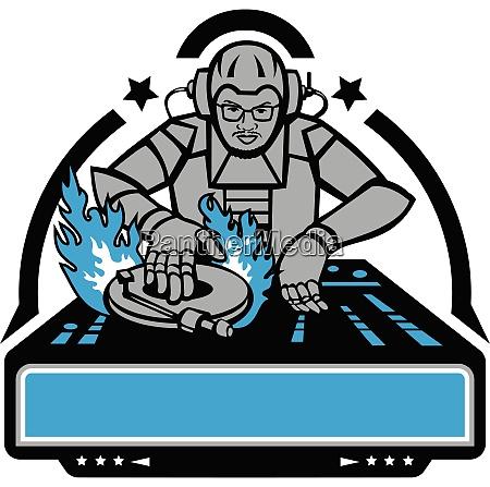 futuristic dj turntable on fire mascot