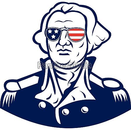washington wearing sunglasses usa flag mascot
