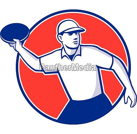 disc golf player throwing mascot circle