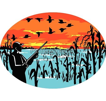 duck v formation hunter flooded cornfield