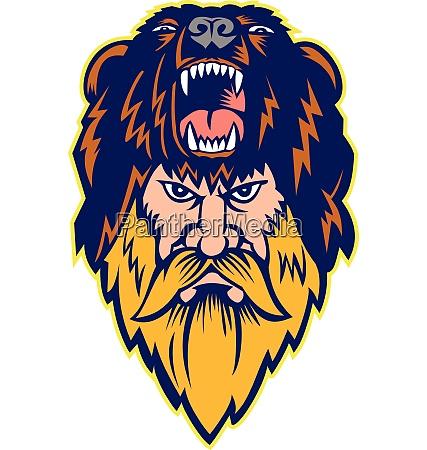 berserker wearing bear head skin mascot