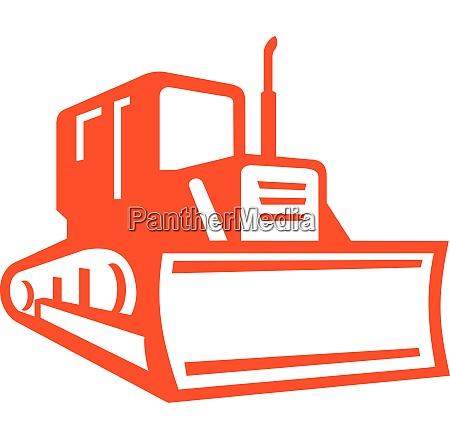 bulldozer front view icon retro
