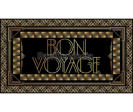 golden decorative bon voyage sign with
