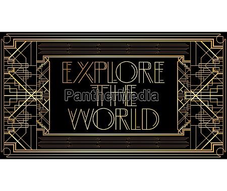 golden decorative explore the world sign