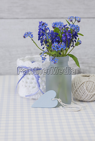 fresh blue spring still life with