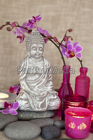 buddha and orchid still life
