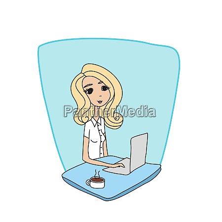businesswoman having coffee break