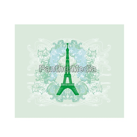 vintage retro eiffel tower abstract card