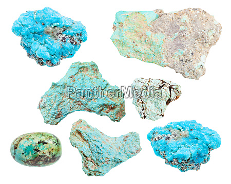 set of various turquoise gemstones isolated