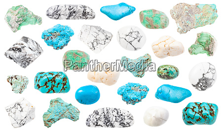 set of turquoise and natural imitation