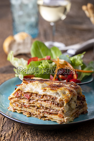 portion of fresh lasagna on a