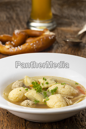 bavarian wedding soup in a plate