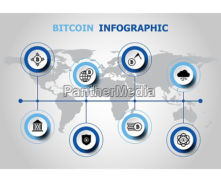 infographic design with bitcoin icons