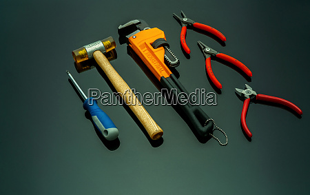 set of mechanic tools isolated on