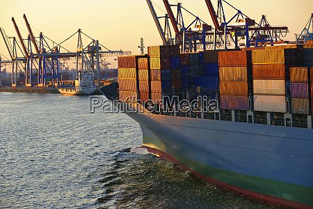 freight container ships in hamburg harbour