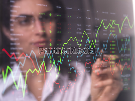 female analyst viewing financial market data