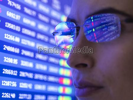 female analyst viewing financial market data
