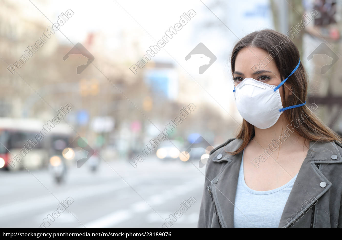 woman, wearing, protective, mask, looking, at - 28189076