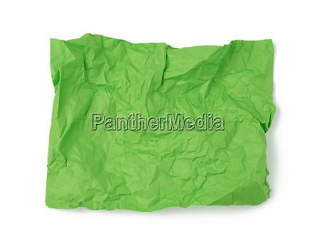 empty crumpled green rectangular sheet of